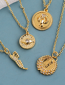 Fashion Gold Color Copper Inlaid Zircon Shrimp Necklace