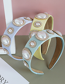 Fashion Fabric+pearl+rhinestone Fabric Diamond-studded Pearl Round Headband