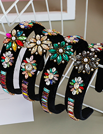 Fashion Fabric+rhinestone+alloy Fabric Alloy Diamond-studded Flower Headband