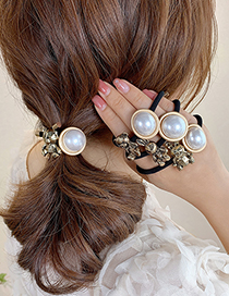 Fashion Three-dimensional Geometric Bunny Hair Rope Alloy Rabbit Bear Pearl Round Knotted Hair Rope