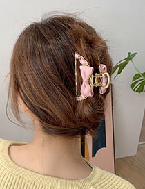 Fashion Red Wine Fabric Alloy Bow Hollow Grab Clip