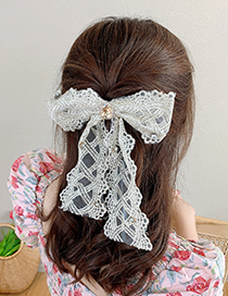 Fashion Beige Butterfly Hair Clip Lace Big Bow And Diamond Alloy Hairpin
