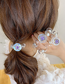 Fashion Square Amethyst Diamond-studded Five-pointed Star Round Telephone Cord Hair Ring