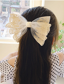 Fashion Beige Net Yarn Small Bow Mesh Lace Butterfly Combined With Blond Hair Clip
