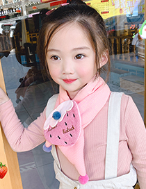 Fashion Bunny [gray] 1-8 Years Old Bunny Striped Strawberry Childrens Thick Warm Cotton And Linen Scarf