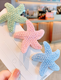 Fashion Blue Starfish Knitted Alloy Childrens Hairpin