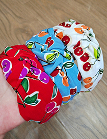 Fashion Blue Cherry Middle Knot Cherry Wide-brimmed Fabric Knotted Rabbit Ears Headband