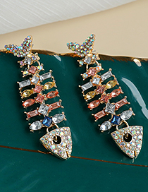 Fashion Color Alloy Diamond Fishbone Earrings