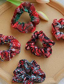 Fashion Red Wine Fabric Printed Christmas Hair Rope
