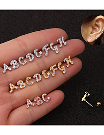 Fashion A Rose Gold Letter Micro Inlaid Zircon Screw Stainless Steel Earrings