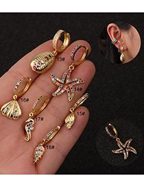 Fashion Round Micro-set Zircon And Starfish Gold-plated Pendant Geometric Earrings
