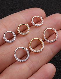 Fashion 8mm Mixed Color Micro-inlaid Zircon Geometric Round Gold-plated Nose Ring