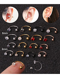 Fashion Rose Gold-red Stainless Steel Screw Micro-inlaid Zircon Gold-plated C-shaped Nose Nail 8mm