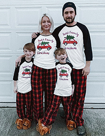 Fashion Dad Plaid Car Christmas Tree Print Pajamas And Home Service Parent-child Set