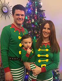 Fashion Dad Clown Christmas Parent-child Stripe Printed Long Sleeve Pajamas