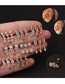 Fashion 8# Rose Gold Long Flower Screw Fine Needle Stainless Steel Zircon Earrings