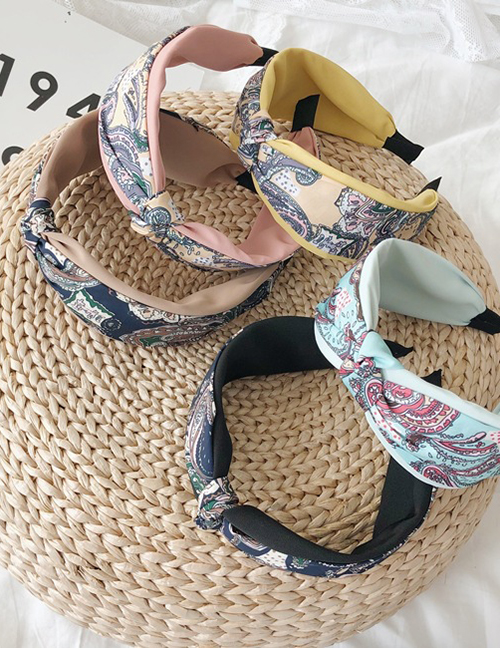 Fashion Khaki Floral Knotted Printed Wide-brimmed Headband