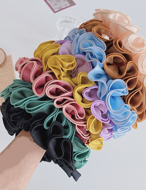 Fashion Yellow Folded Ruffled Broad-brimmed Fabric Hair Band
