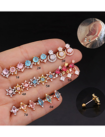 Fashion 8# Rose Gold Color Color Round Micro-inlaid Zircon Stainless Steel Screw Earrings (1 Price)