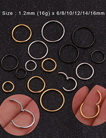 Fashion Black Stainless Steel Open Ring Round Nose Ring (1 Price)