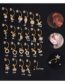 Fashion 22# 8mm Gold Color Color Stainless Steel Geometric C-shaped Flower Micro-inlaid Zircon Earrings (1 Price)