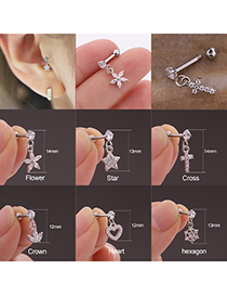 Fashion Hexagon Gold Color Color Stainless Steel Screw Micro-inlaid Zircon Geometric Flower Earrings (1 Price)