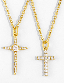 Fashion Cross Gold-plated Copper Necklace With Cross