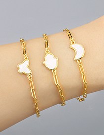 Fashion Palm Thick Chain Butterfly Geometric Shape Abalone Adjustable Bracelet