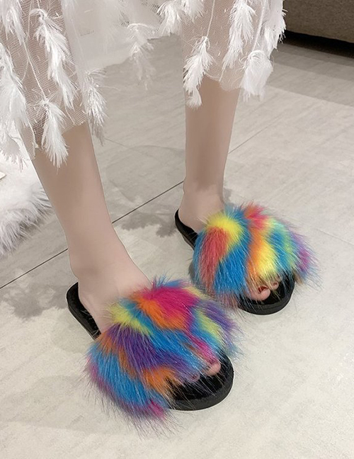 Fashion Color One-line Flat-bottomed Contrast Color Round Head Hairy Slippers