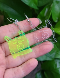 Fashion Transparent Transparent Environmental Protection Acrylic Smiley Plastic Bag Earrings