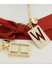 Fashion Gold Color Plated H Square Letter With Heart Necklace