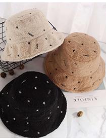 Fashion Beige Five-pointed Star Lamb Wool Stitching Fisherman Hat
