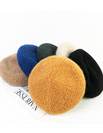 Fashion Army Green Plush Solid Color Beret