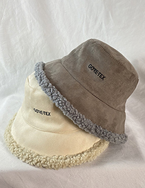 Fashion Turmeric Lamb Wool Padded Suede Embroidered Letter Fisherman Hat