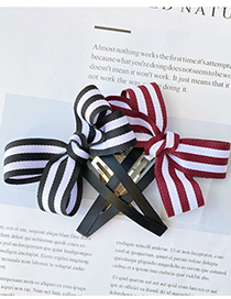 Fashion Black Black And White Striped Bow Hairpin