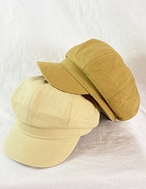 Fashion Beige Solid Color Stitching Cap