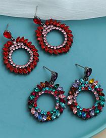 Fashion Color Alloy Diamond Geometric Hollow Shape Earrings