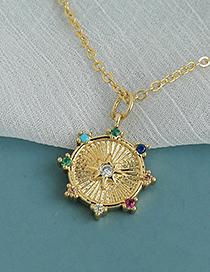Fashion Gold Color Copper Inlaid Zircon Round Necklace