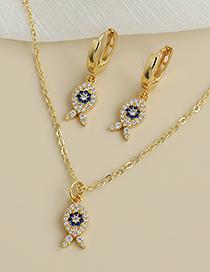 Fashion Gold Color Copper Inlaid Zircon Fish Necklace