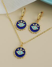 Fashion Gold Color Copper Inlaid Zircon Eye Necklace