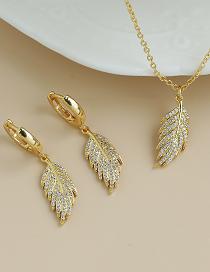 Fashion Gold Color Copper Inlaid Zircon Leaf Necklace