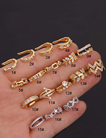 Fashion 17#gold Color Stainless Steel Inlaid Zircon Geometric Earrings Without Pierced Ears