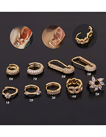 Fashion 9# Rose Gold Color Geometry Inlaid Zircon Stainless Steel Earrings