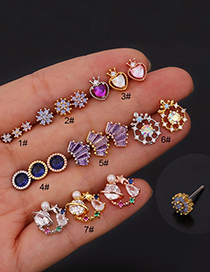Fashion 7# Rose Gold Color Zircon Inlaid Stainless Steel Screw Geometric Earrings