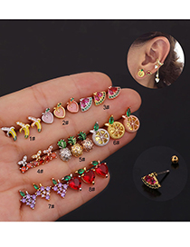 Fashion 8# Rose Gold Color Fruit Inlaid Zircon Stainless Steel Thread Geometric Earrings