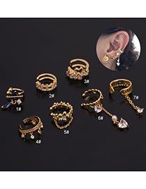 Fashion 7# Rose Gold Color U-shaped Geometric Inlaid Zircon Pierced Earrings