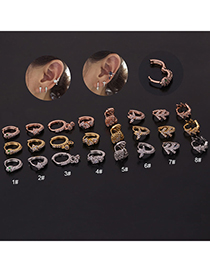 Fashion 8# Rose Gold Color Snake-shaped Micro-inlaid Zircon Stainless Steel Geometric Earrings