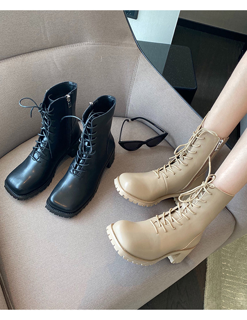 Fashion Black Generous Toe Thick Heel Lace-up Boots