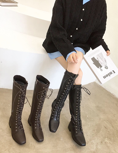 Fashion Brown Soft Leather Square Toe Chunky Heel Strap Flat Boots