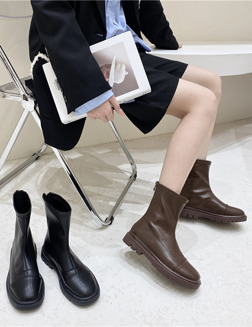 Fashion Brown Solid Color Square Toe Stitching Martin Boots